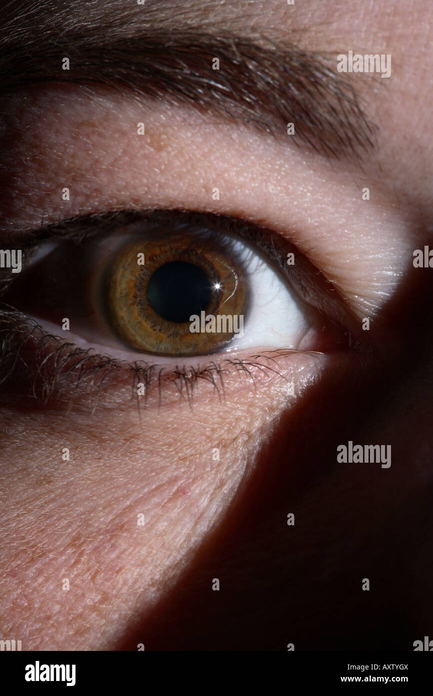 Dramatic close up of a female eye in shadow Stock Photo