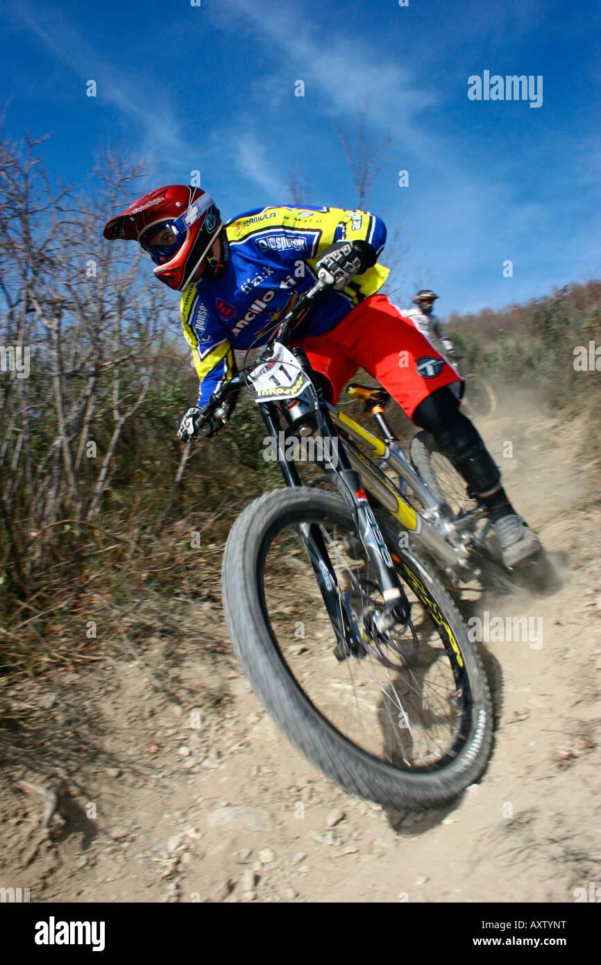 MTB Downhill. Pieve di Teco trail, Liguria, Italy - Stock Image