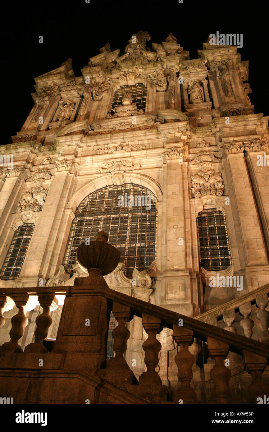 Igreja dos Clérigos (Church of the Clergy) by night, Porto, Portugal Stock Photo