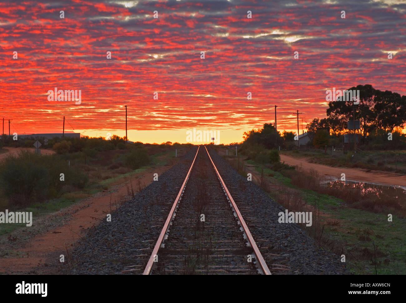 Railway tracks, Menindee, New South Wales, Australia, Pacific - Stock Image