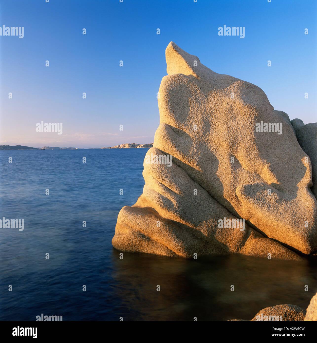 Wind eroded granite rock, Costa Smeralda, Sardinia, Italy, Mediterranean, Europe - Stock Image