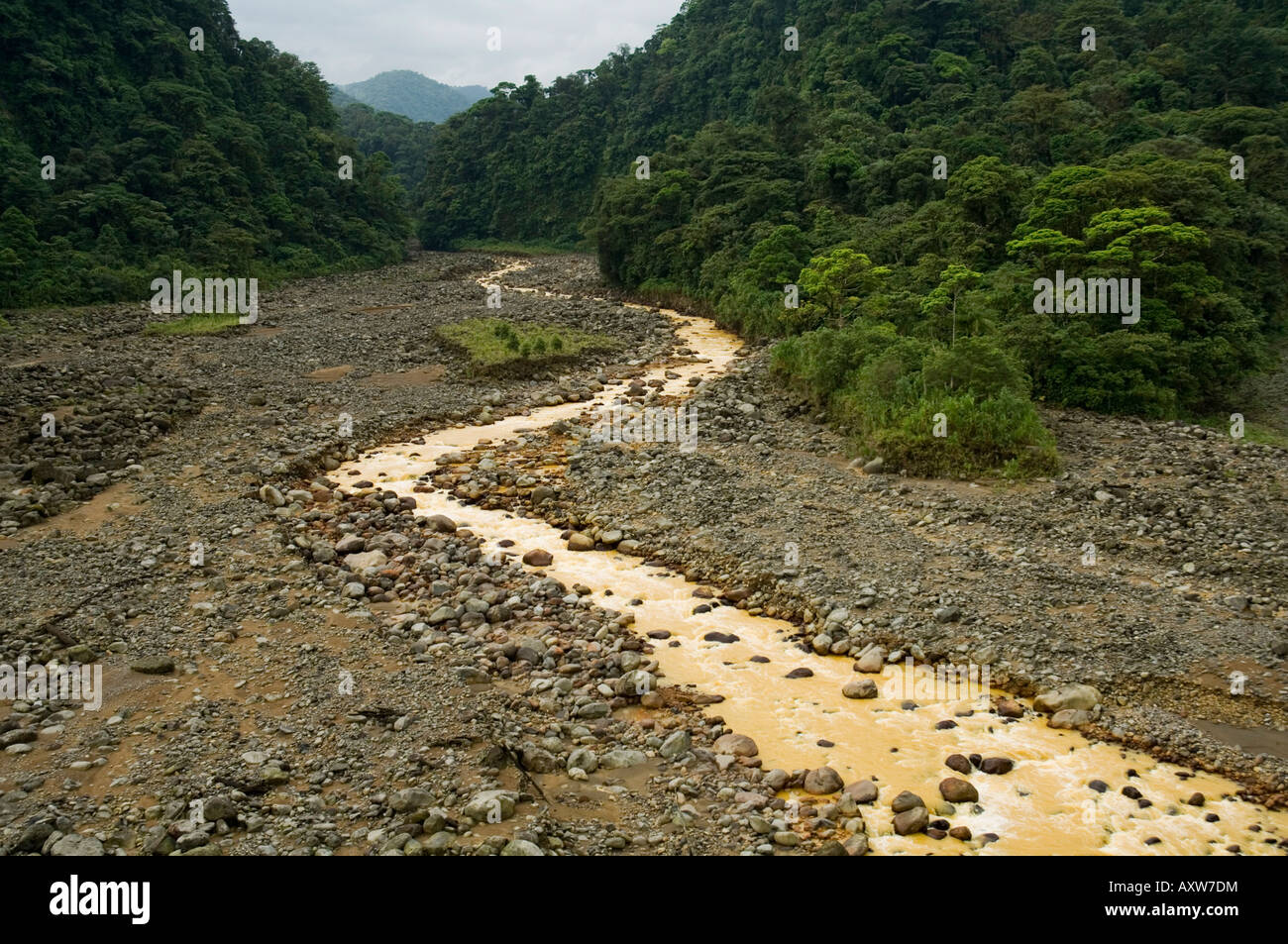 Brown water flowing from river fed with volcanic silt, Costa Rica - Stock Image