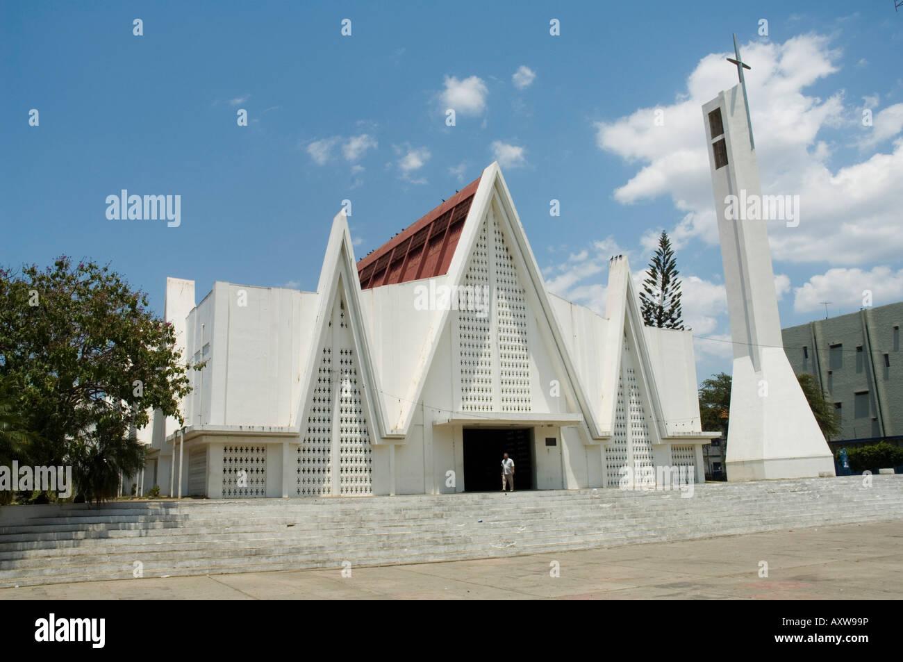 Church near Plaza Central, Liberia, Costa Rica - Stock Image