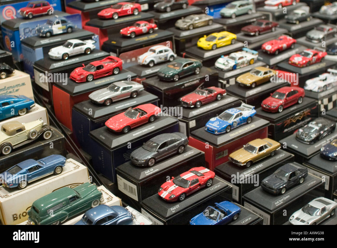 Die cast toy cars in window display of toy shop Stock Photo: 5524535
