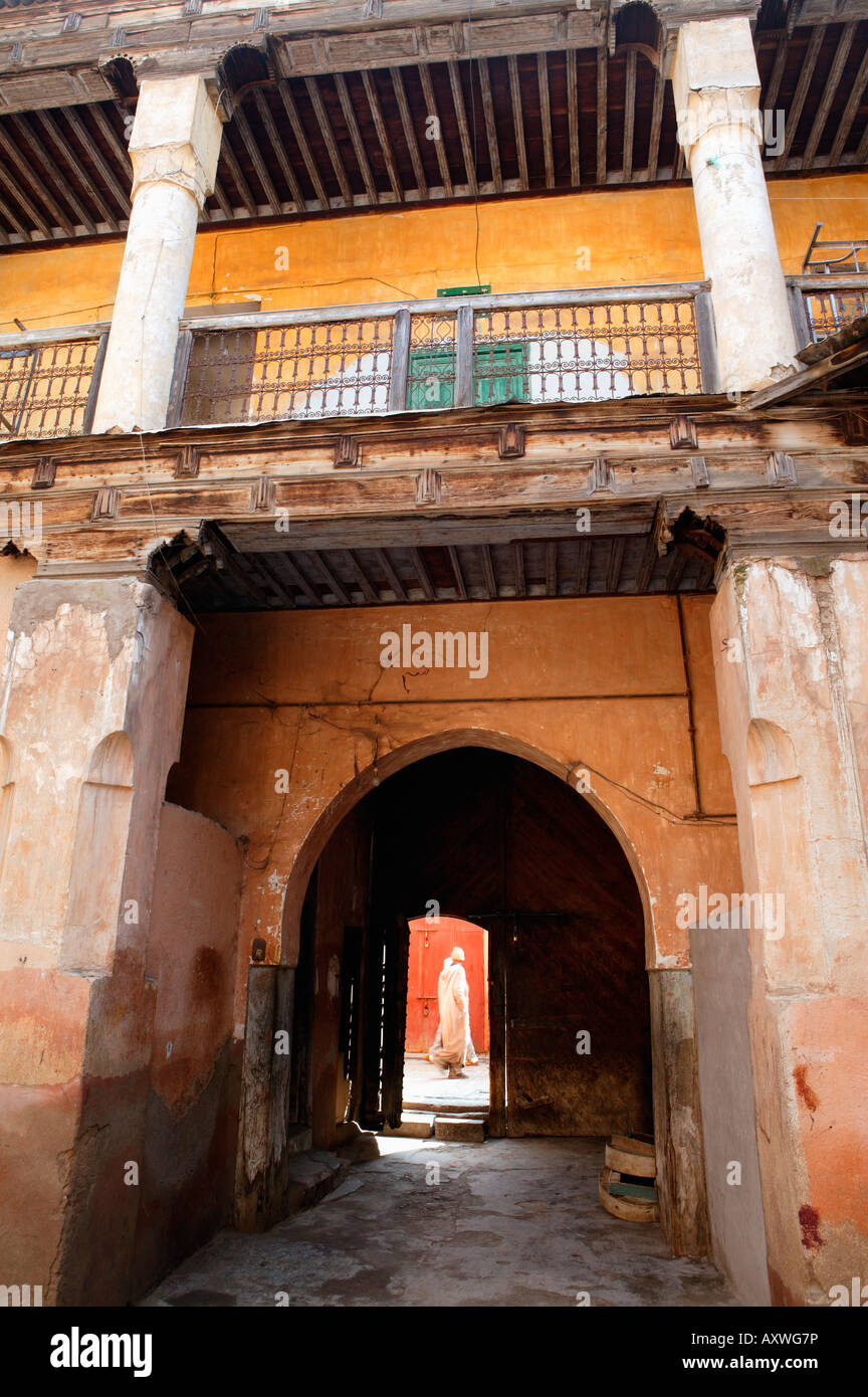 View out from courtyard with figure walking by, Marrakech, Morrocco, North Africa, Africa - Stock Image