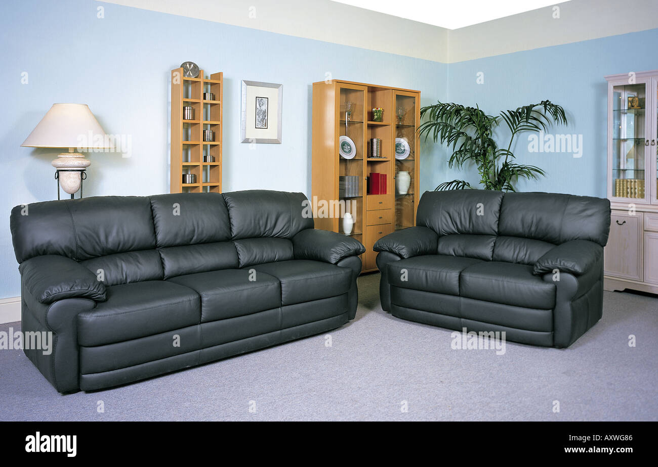 Settee Two seater and three seater Settees - Stock Image
