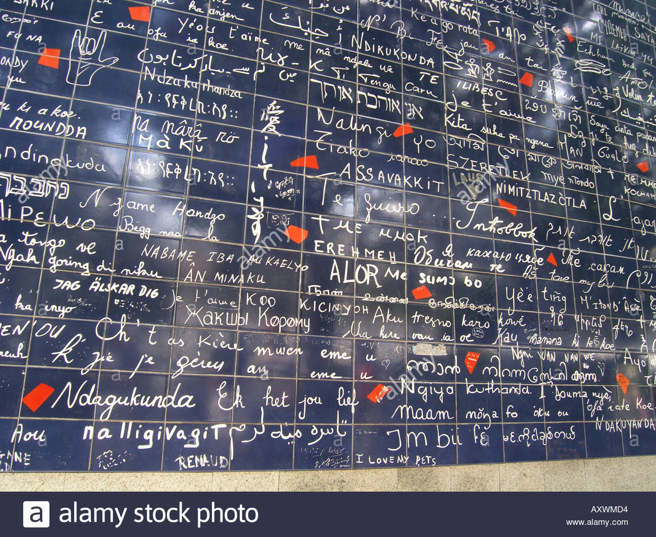 detail of Le Mur Bleu - Love Wall - Paris France - Stock Image