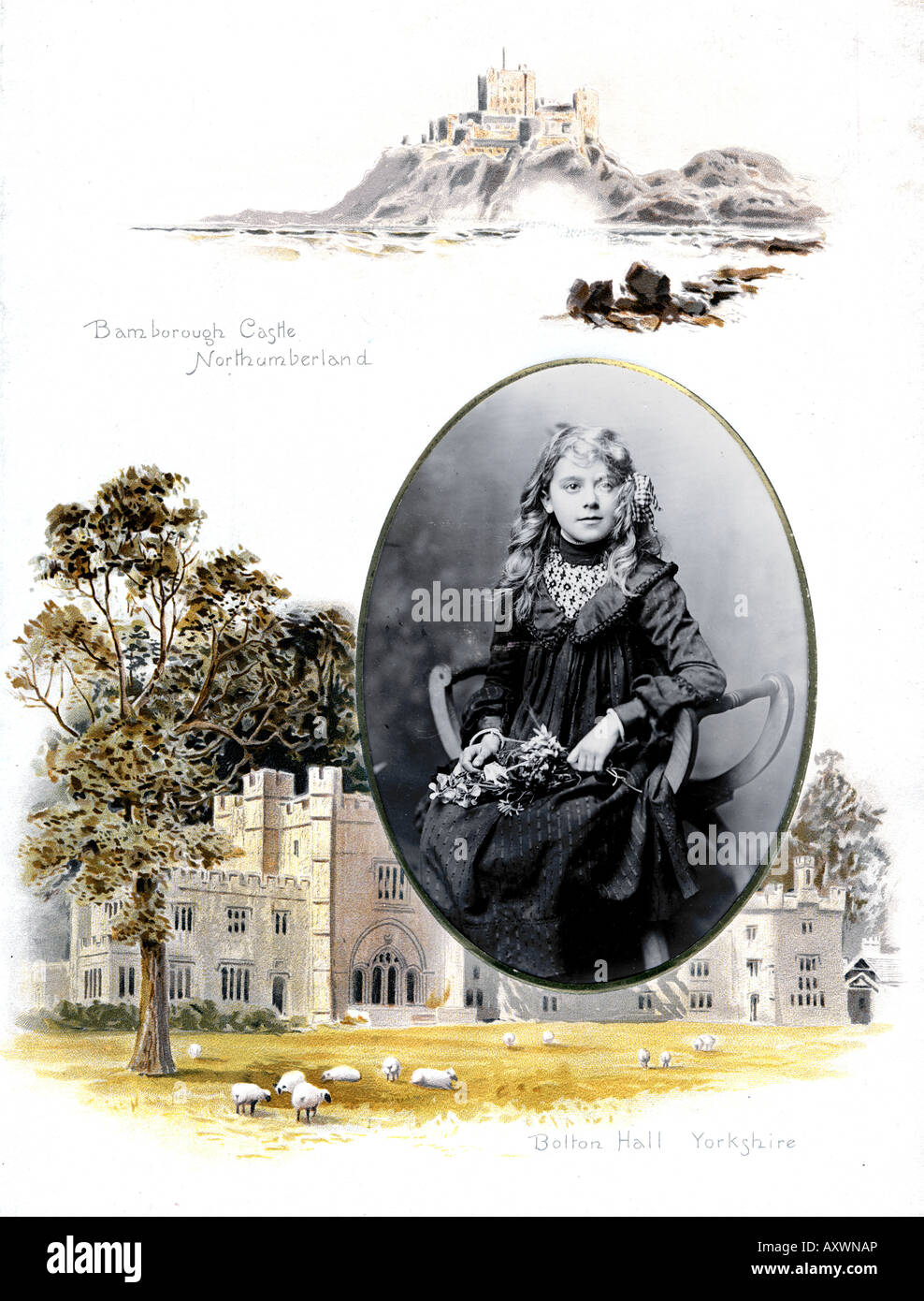 Victorian 1880s 1890s Decorated Photograph Album featuring Stately Homes with Bamborough Castle Northumberland and - Stock Image
