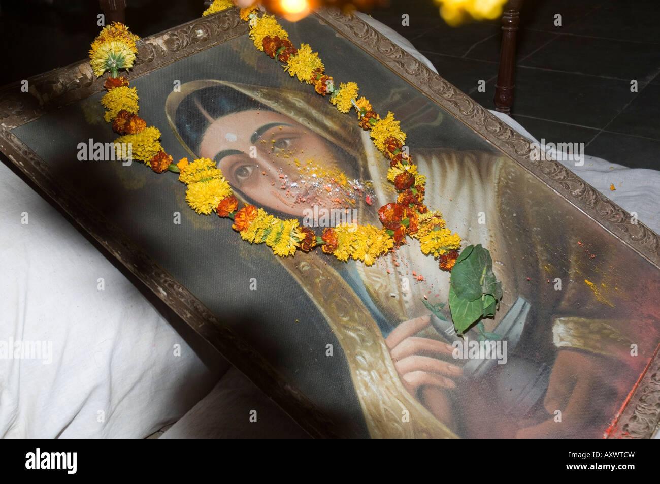 Protrait of one of India's most celebrated 18th centure female rulers, Ahilya Bai Holkar.  Maheshwar, Madhya - Stock Image