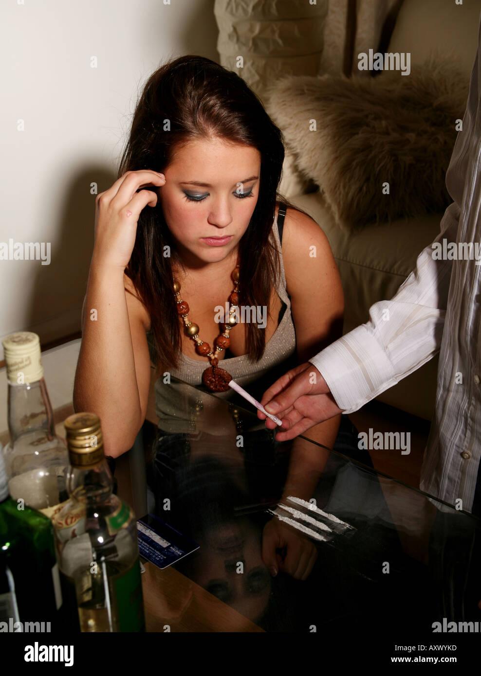 Girl snorting coke drug remarkable, very