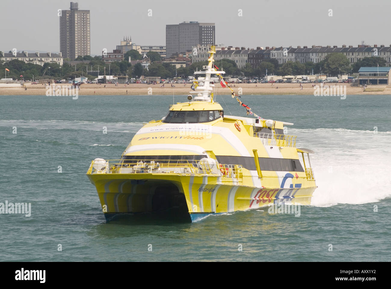 Wight link fast cat leaving Portsmouth for Ryde on the Isle of Wight Stock Photo