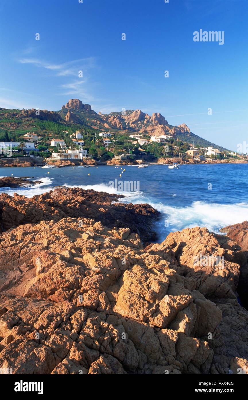 Antheor, and Pic du Cap Roux, Corniche de l'Esterel, Var, Cote d'Azur, French Riviera, Provence, France - Stock Image