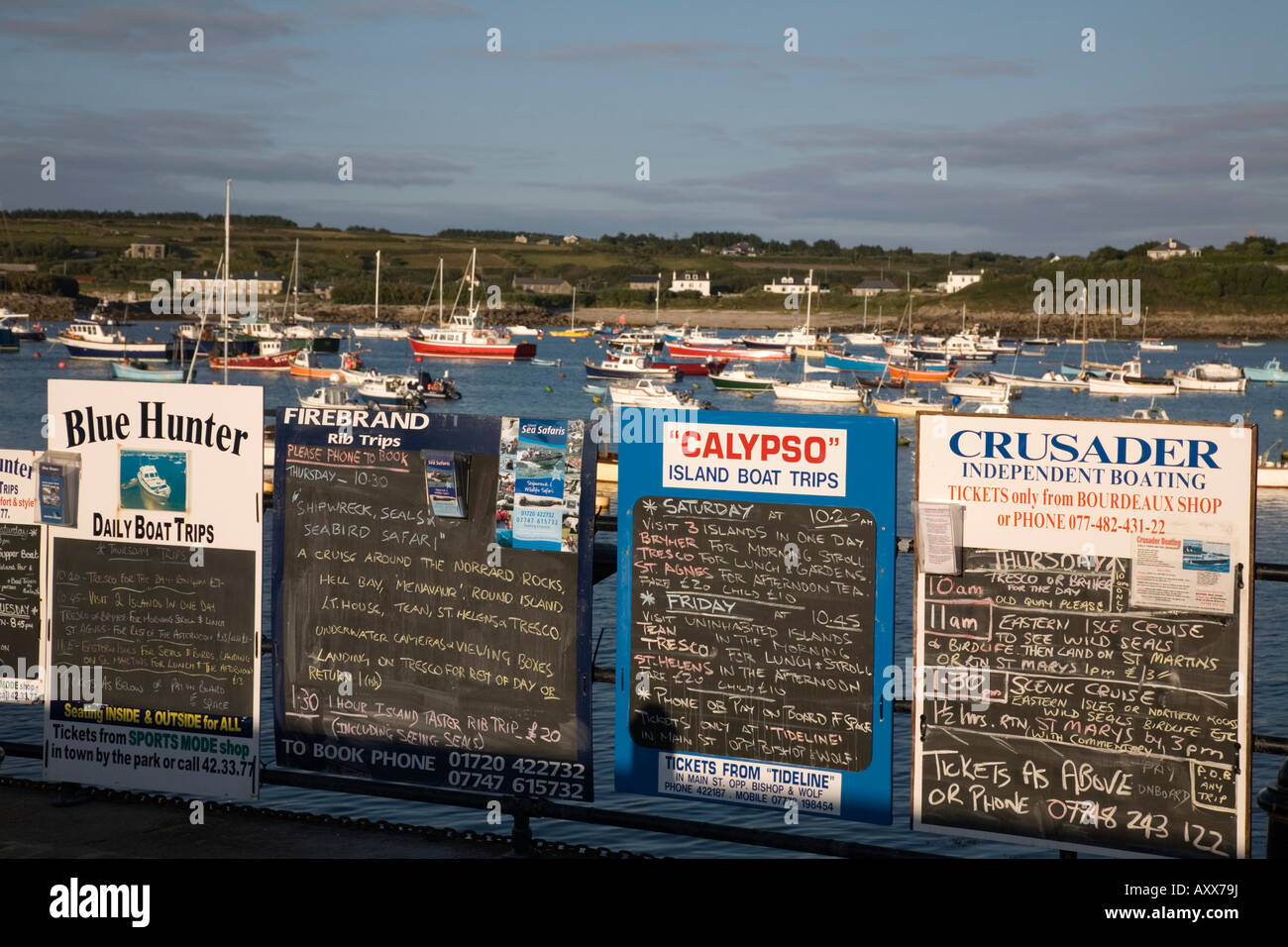 hugh town harbour st marys isles of scilly - Stock Image