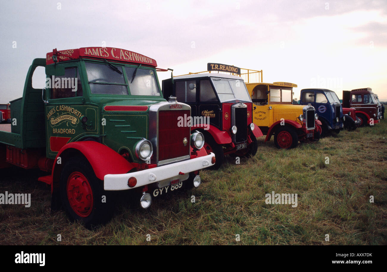 Old fashioned classic vintage retro trucks and lorries in England in ...