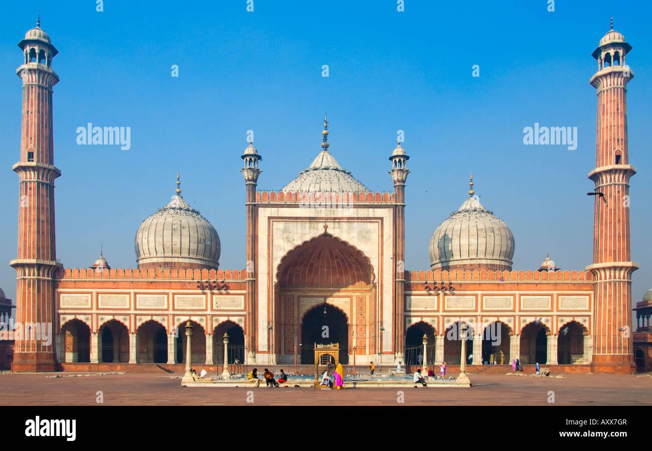 The Jama Masjid mosque in Delhi in India - Stock Image
