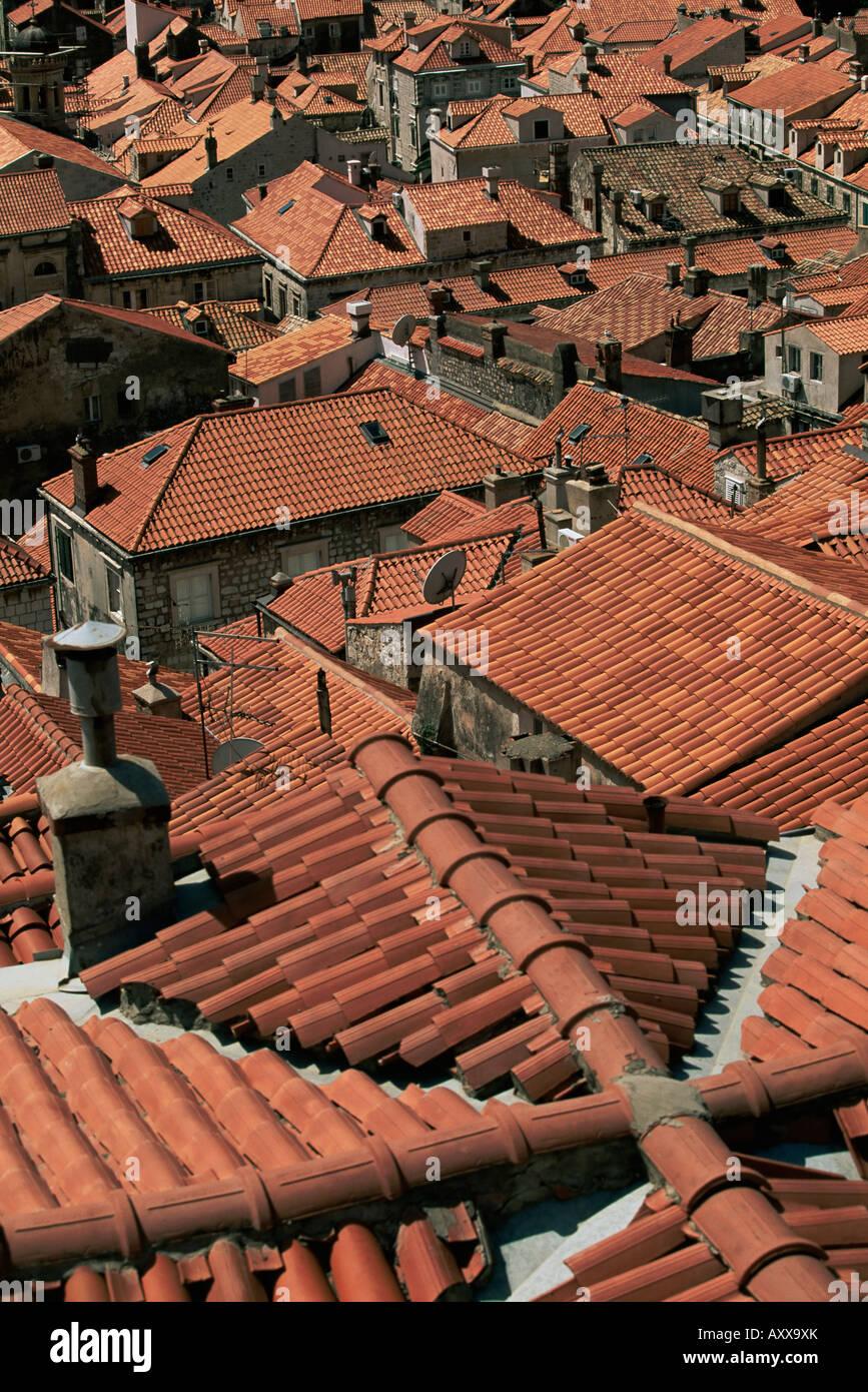 Tiled roofs, Dubrovnik, Dalmatia, Croatia, Europe - Stock Image
