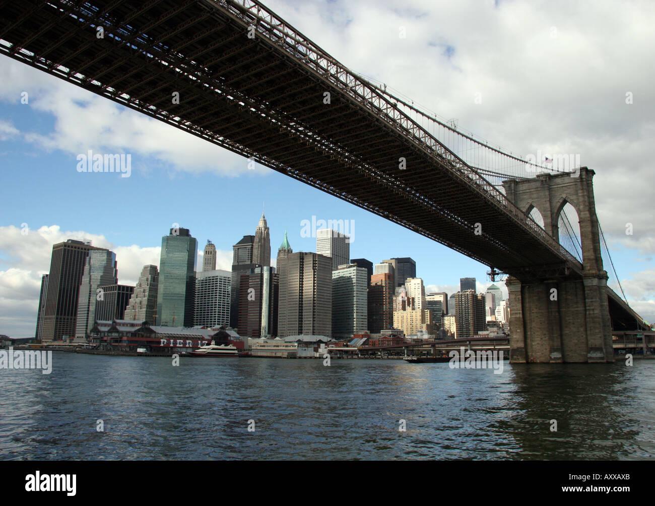 Brooklyn Bridge framing Lower Manhattan New York City Stock Photo ...