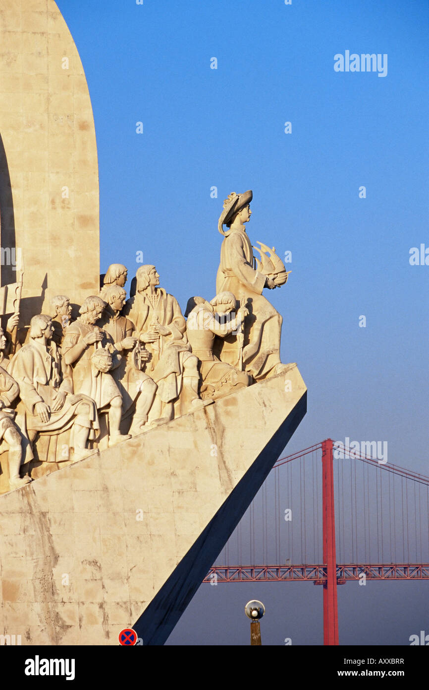 Henry the Navigator on the prow of the Padrao dos Descobrimentos, Monument to the Discoveries, Belem, Lisbon, Portugal, - Stock Image