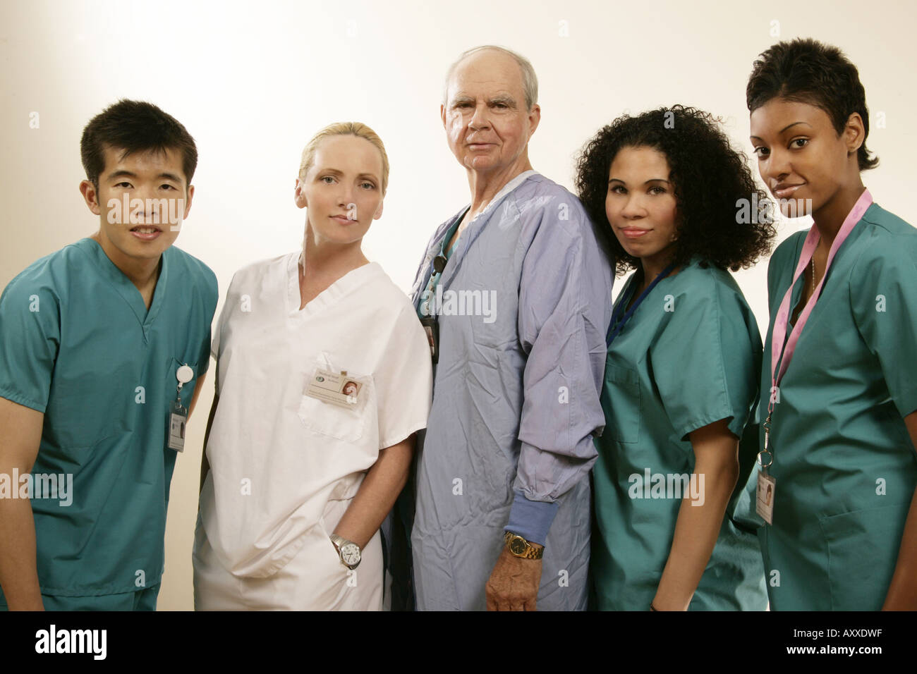 Mixed race group of medical personnel. - Stock Image