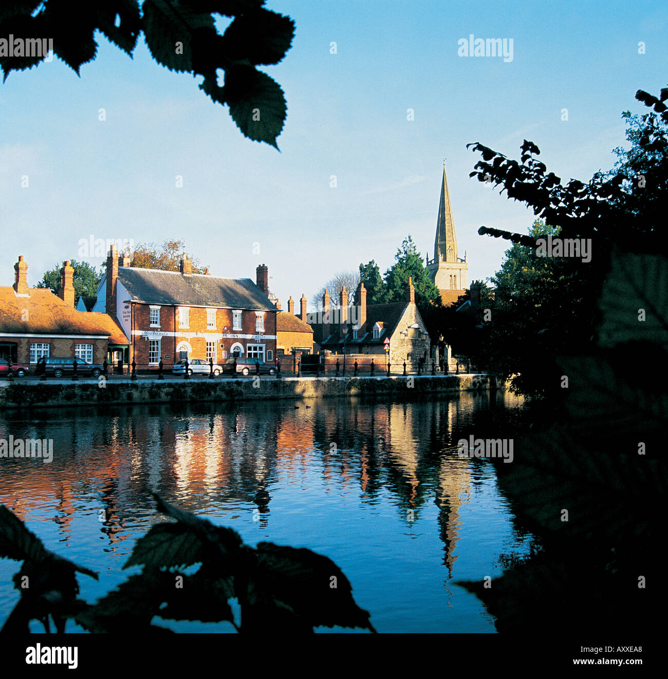 View of St Helens Church and Abingdon over The River Thames - Stock Image