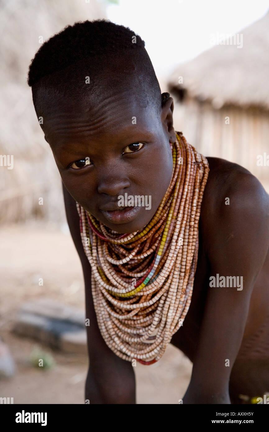 Portrait of a Karo tribeswoman, Lower Omo Valley, Ethiopia, Africa - Stock Image