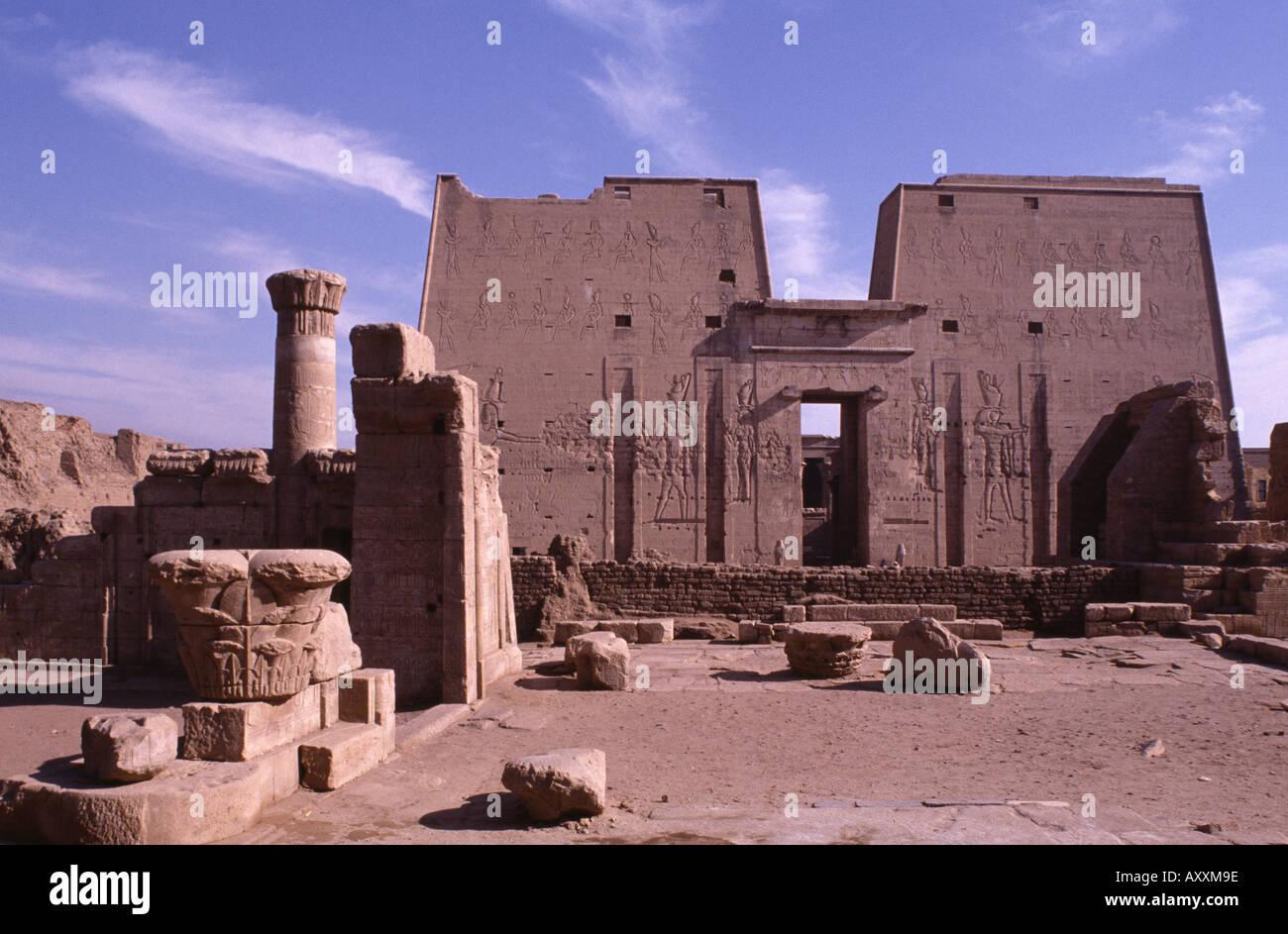 Edfu, Horus-Tempel, - Stock Image