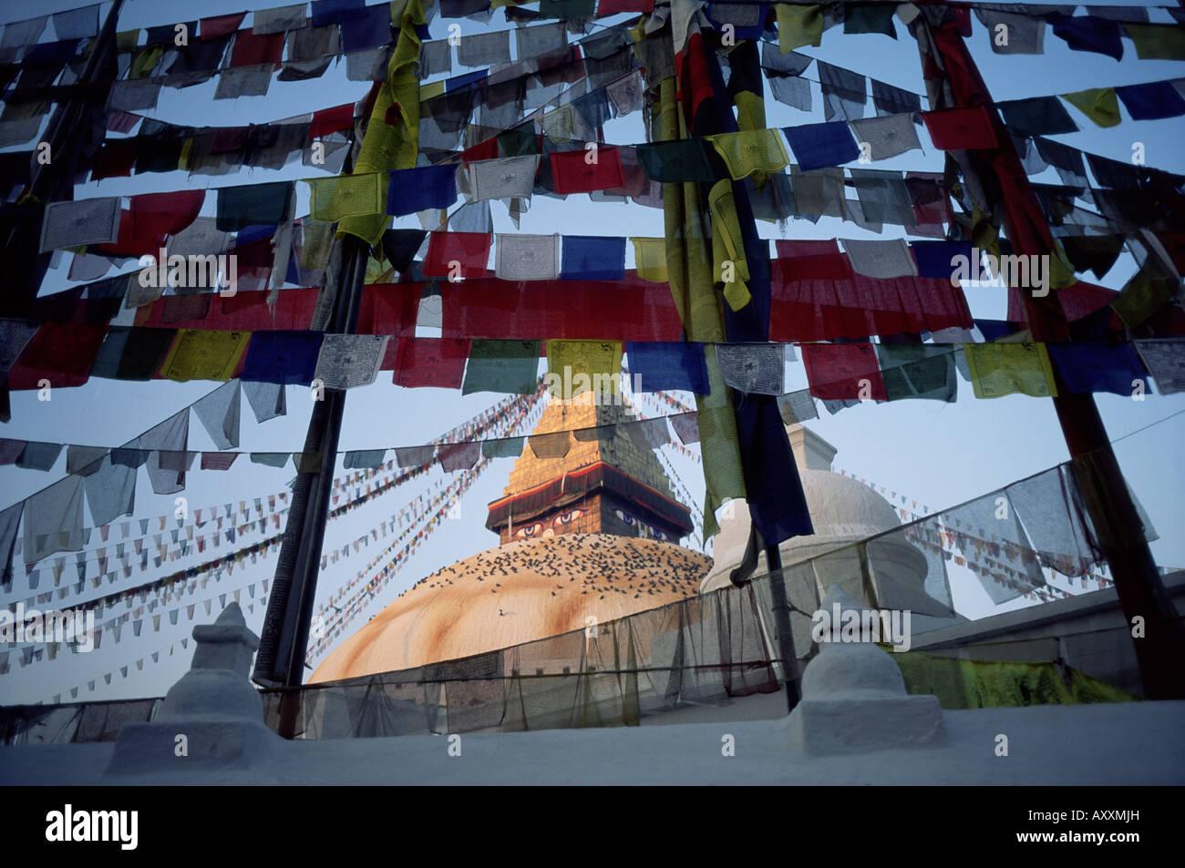 Bodnath (Bodhnath) (Boudhanath) stupa with Buddhist prayer flags, Kathmandu, Nepal, Asia - Stock Image