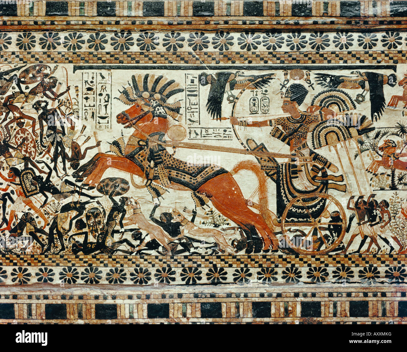 Detail of the destruction of the black Africans painted on the box of stuccoed wood, from the tomb of the pharaoh - Stock Image