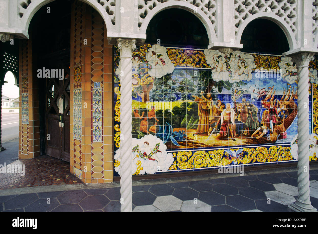 Famous original tile mosaic mural pictures adorn the Columbia Restaurant in the Cuban district of Ybor City, Tampa, Florida, USA - Stock Image