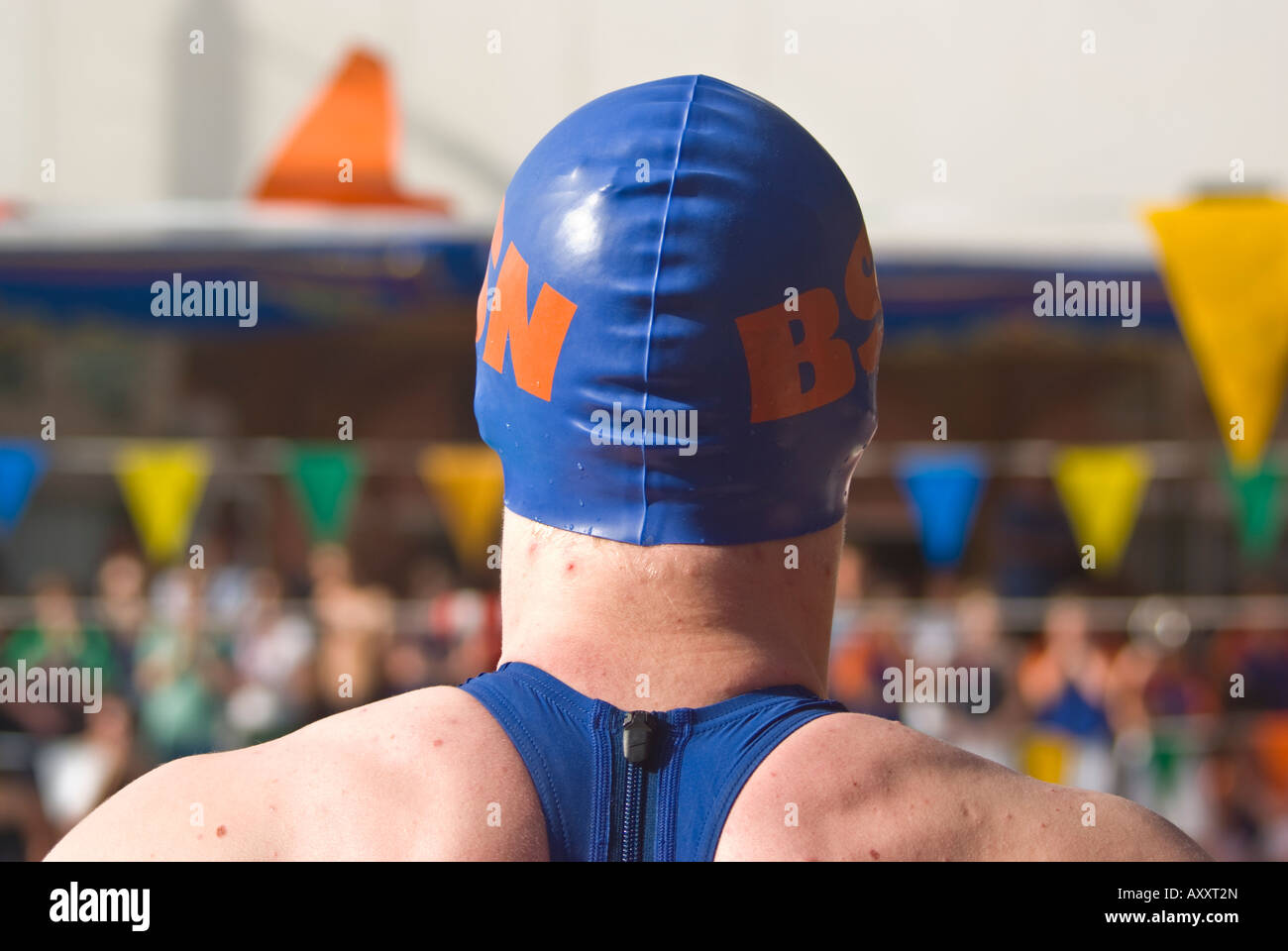 high school swimmer, international swim meet, Cairo American College, Egypt - Stock Image