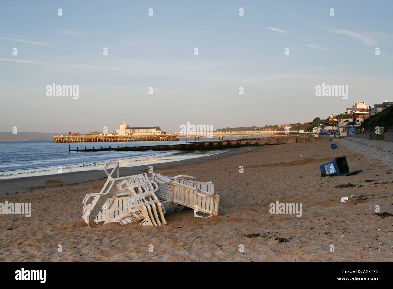 Bournemouth beach after overnight vandalism - Stock Image