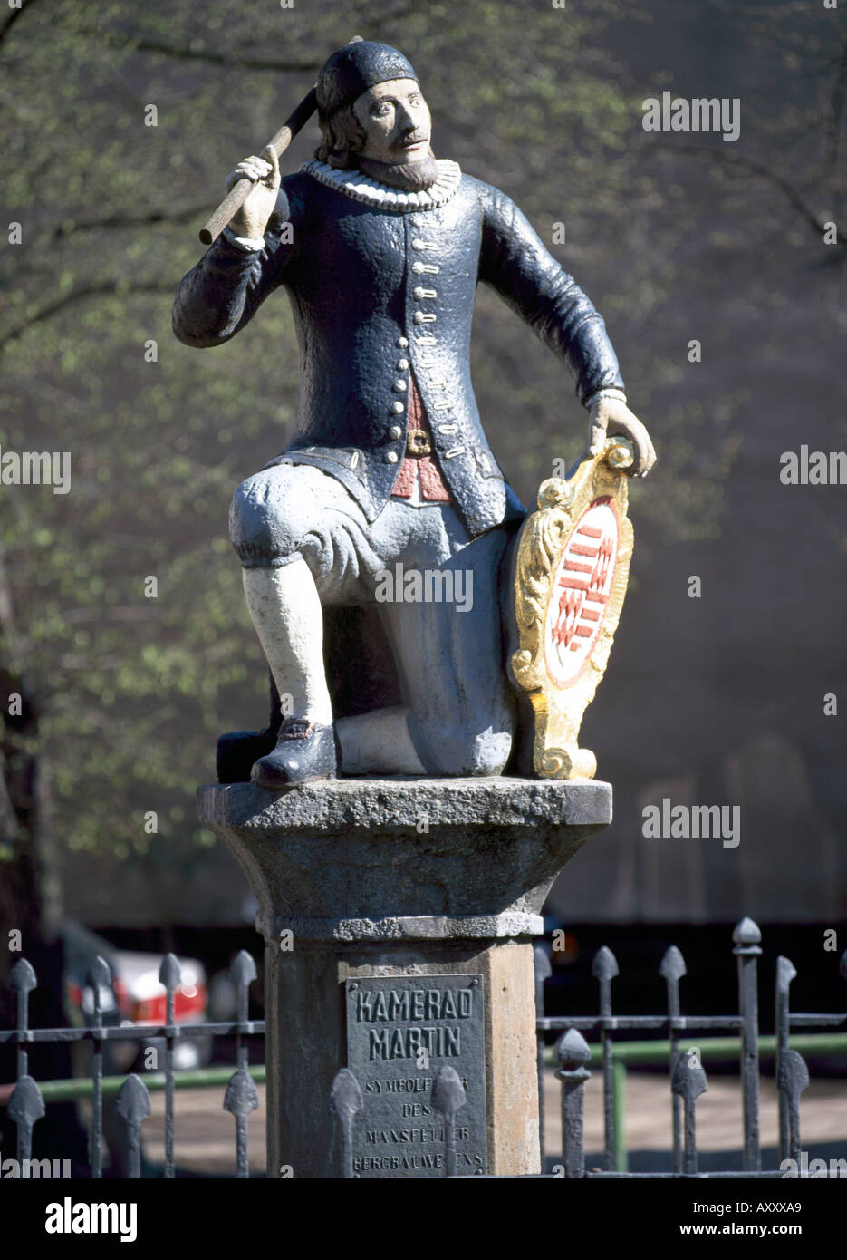 Eisleben, Lutherstadt, ' Kamerad Martin', Symbolfigur des Mansfelder Bergbaus - Stock Image