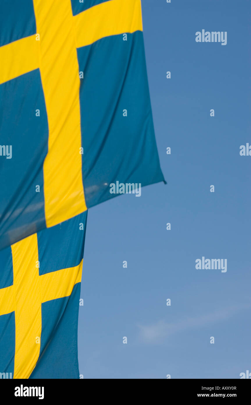 Swedish Flag, Stockholm, Sweden - Stock Image