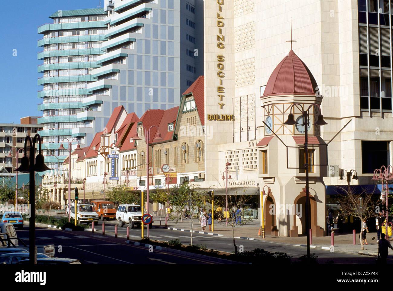 Windhoek, Independence Avenue, Stadtansicht - Stock Image