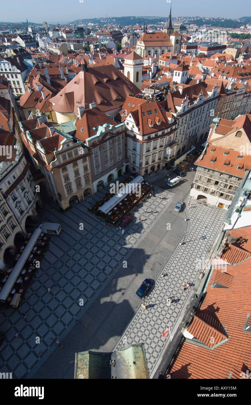 Rooftops, Old Town Sq, Prague, Czechoslovakian Republic - Stock Image