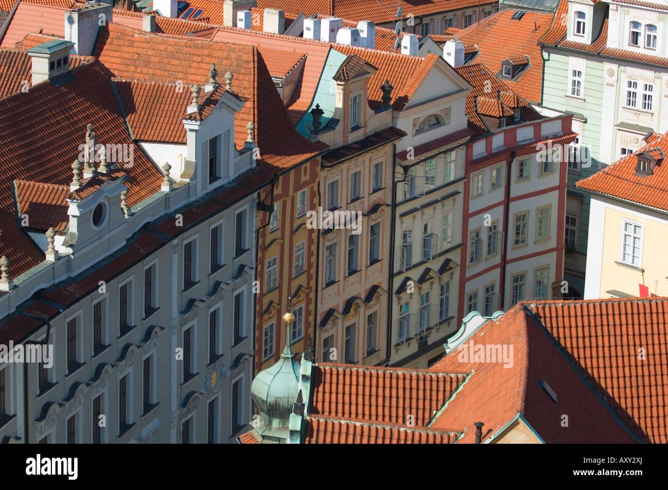 Rooftops, Prague, Czechoslovakian Republic - Stock Image