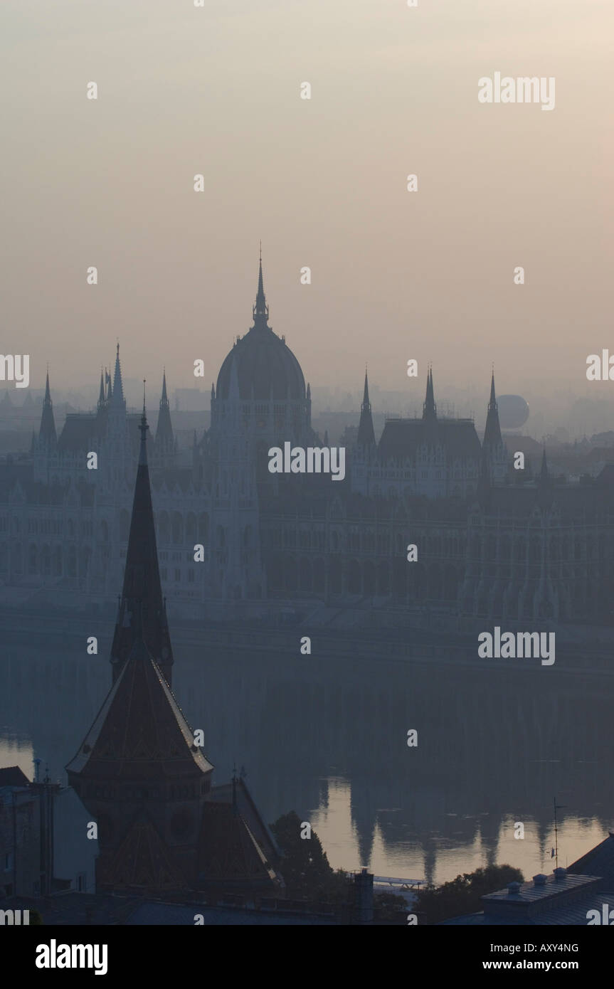 Parliament and Danube, Budapest, Hungary - Stock Image