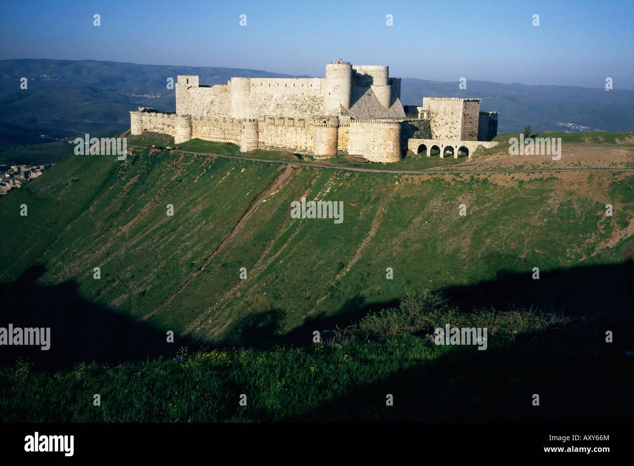 Crusader castle, Krak des Chevaliers, near Homs, Syria, Middle East - Stock Image