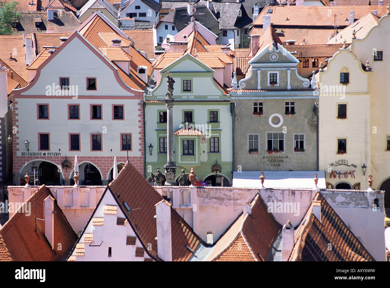 View from the castle of the town square, Cesky Krumlov, UNESCO World Heritage Site, Czech Republic, Europe - Stock Image