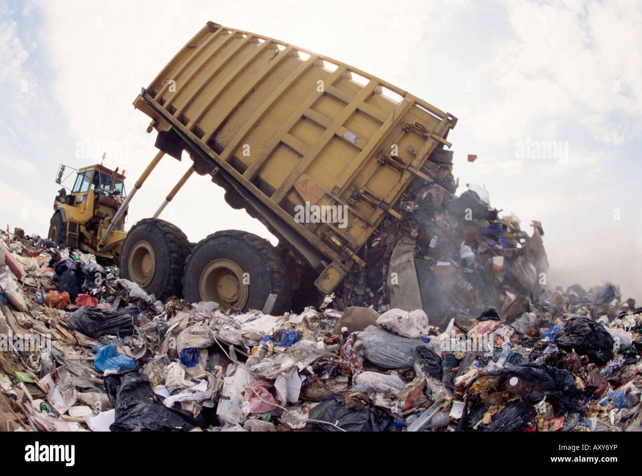 Lorry arrives at waste tipping area at landfill site, Mucking, London, England, United Kingdom, Europe Stock Photo