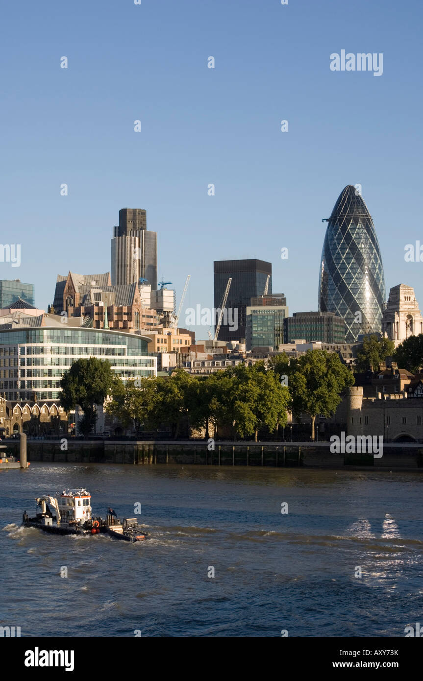 City of London and the River Thames, 30 St. Mary Axe building on the right, London, England - Stock Image