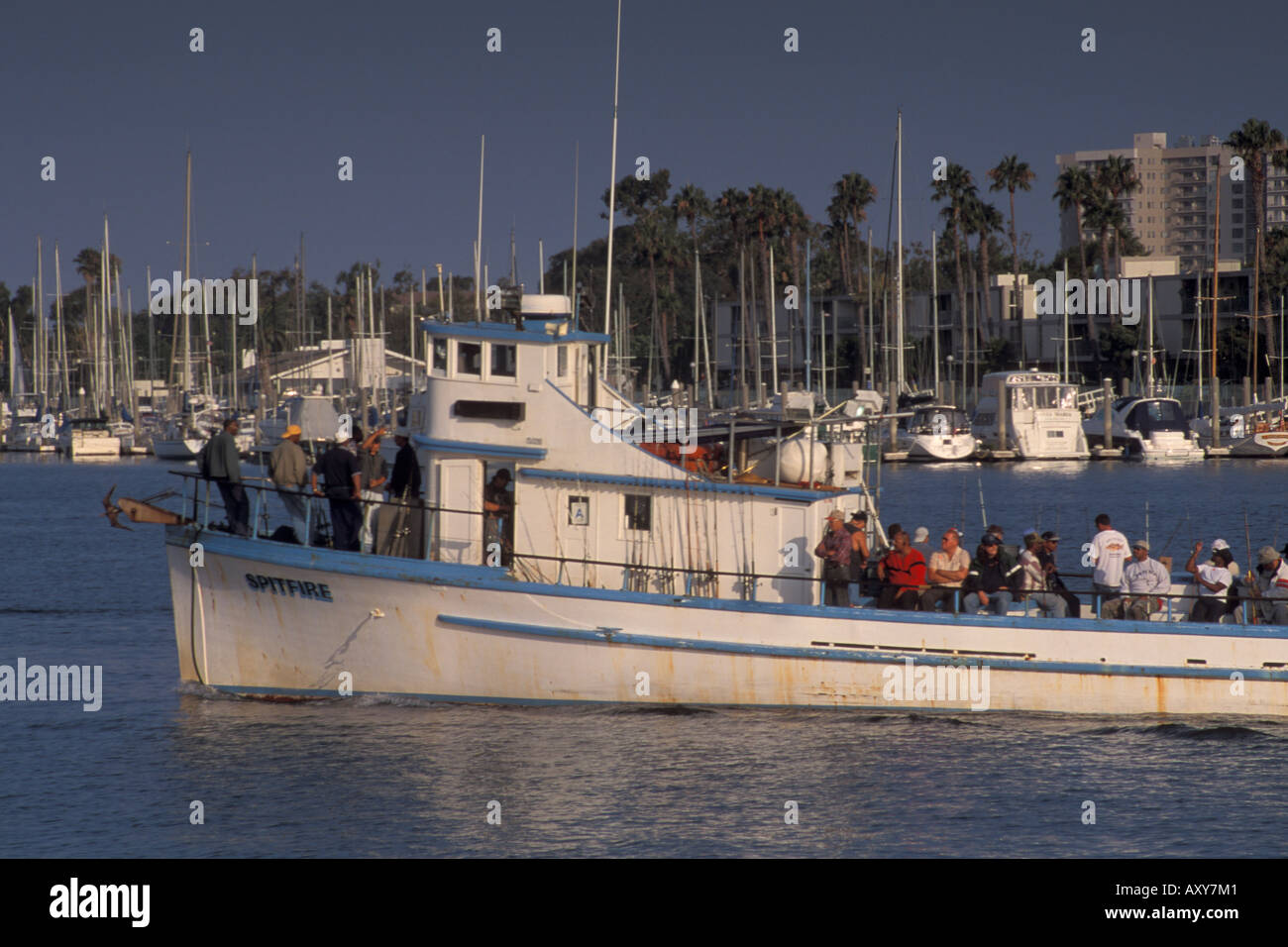 Fishing Party Boat Charter Tour leaves for sea from Marina
