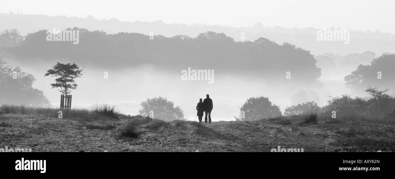Couple walking in Richmond Park, London, UK - Stock Image
