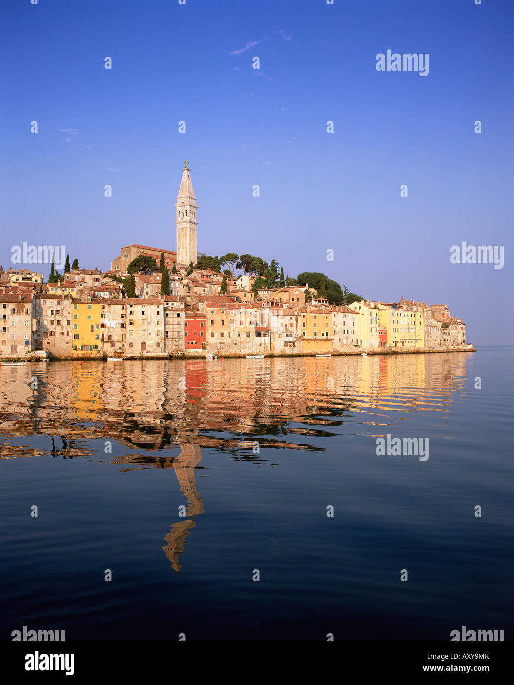 Old Town houses and cathedral of St. Euphemia, Rovinj, Istria, Croatia, Europe - Stock Image