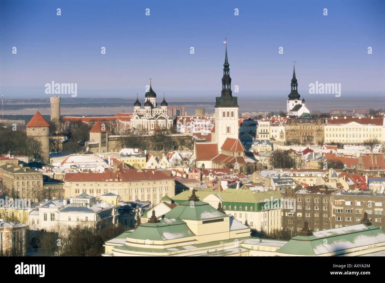 Elevated winter view over the Old Town towards Alexander Nevsky cathedral, Tallinn, Estonia, Baltic States - Stock Image