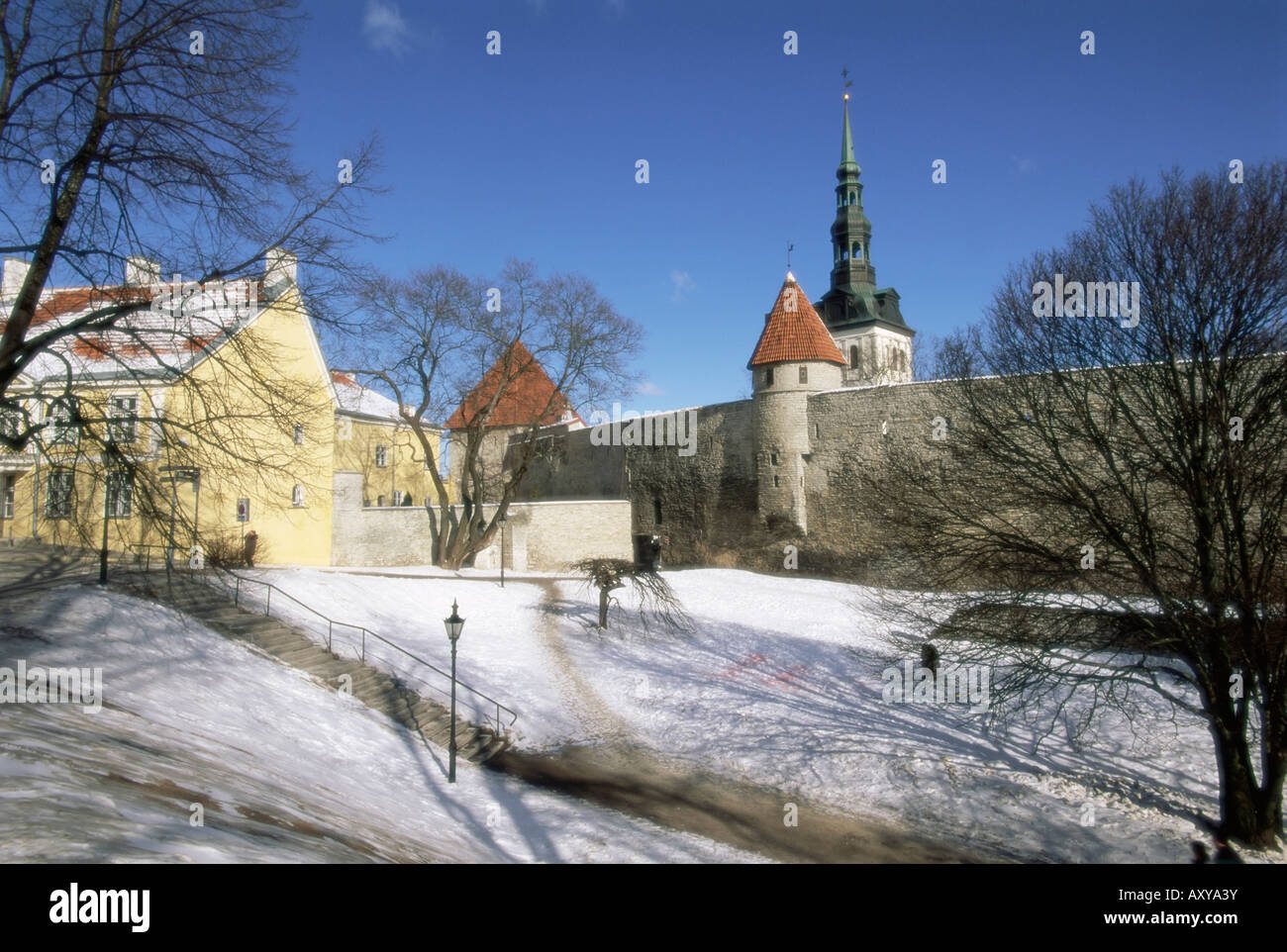 The Old Town in winter, Tallinn, UNESCO World Heritage Site, Estonia, Baltic States, Europe - Stock Image