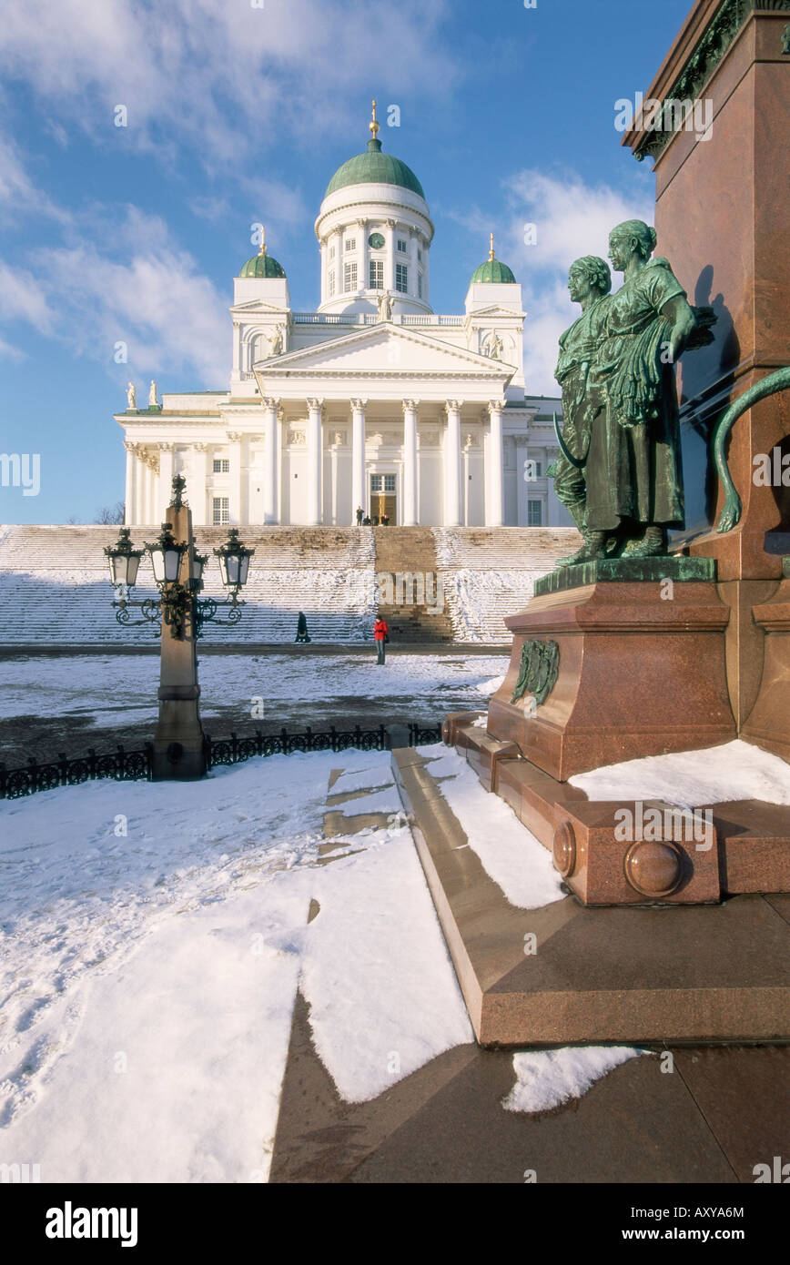 Lutheran Christian cathedral in winter snow, Helsinki, Finland, Scandinavia, Europe - Stock Image