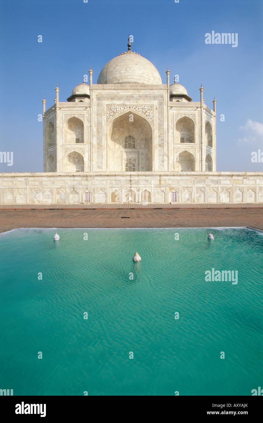 The Taj Mahal across pond, UNESCO World Heritage Site, Agra, Uttar Pradesh state, India, Asia - Stock Image