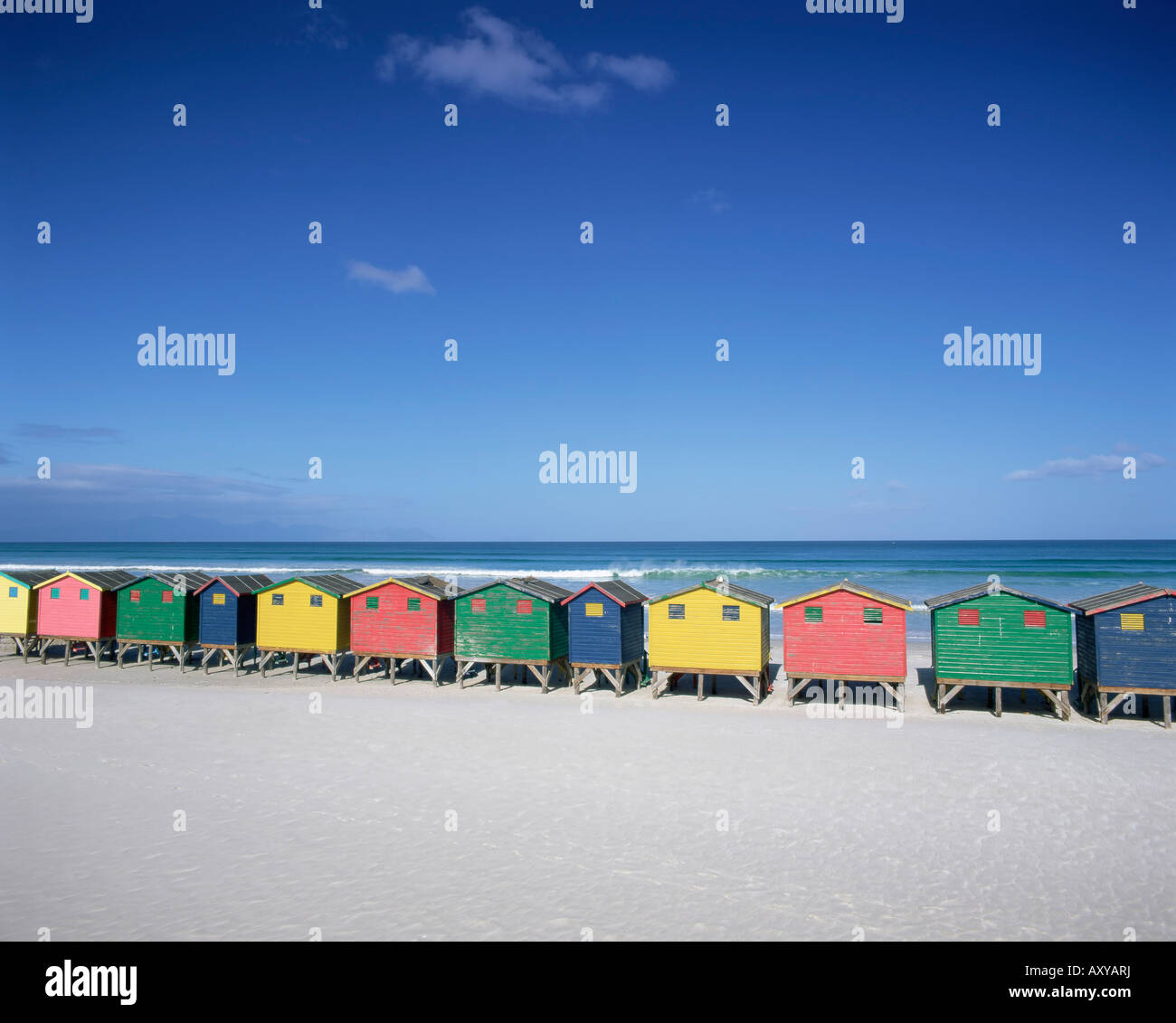 Colourful beach huts in Muizenberg, Cape Town, Cape Peninsula, South Africa, Africa - Stock Image