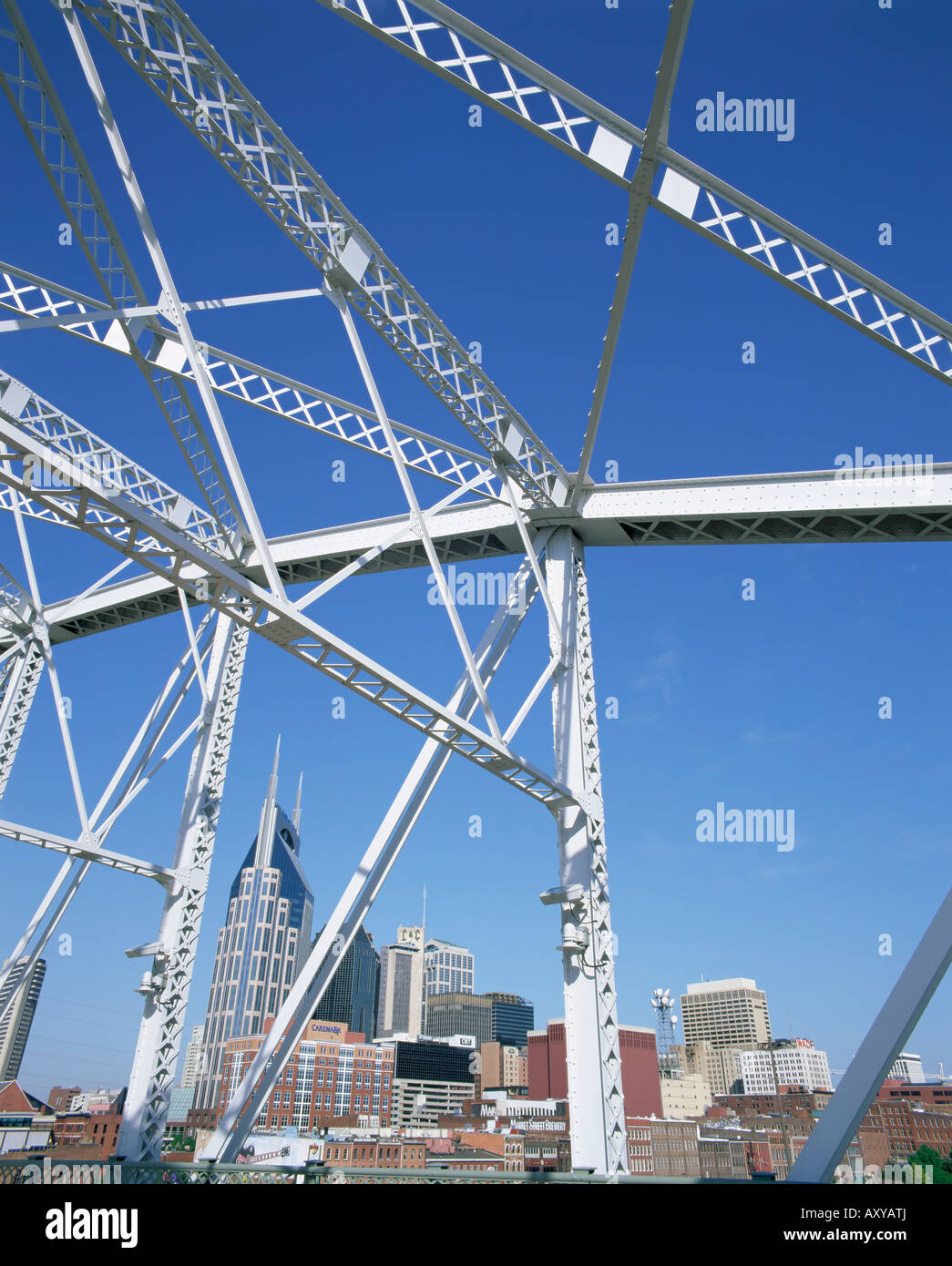 City skyline and new pedestrian bridge, Nashville, Tennessee, United States of America, North America - Stock Image
